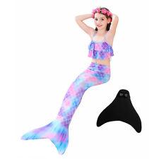 Kids Girls  3pcs Bikini Sets Swimsuit Swimmable Mermaid Tail Swimming Monofin US