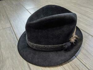 SIZE 7 vintage RESISTOL fur felt FEDORA black hat FEATHER gangster 1940s small
