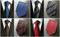 Tie Red Black Silver Red Patterned 100% Silk Wedding Necktie