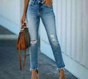 Small Feet Jeans High Waist Pant Wild Hole Design Light Blue Fit Elastic Trouser