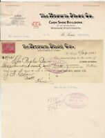 U.S. The BROWN SHOE CO. St. Louis 1901 Stamp Paid Invoice & Letter Inv Ref 44154