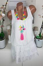Kleid Sommer Häkel Ibiza Strand Lagenlook Hippie süß weiß 36 38 neu