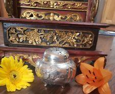 Exceptional 1800's Meiji Japanese Sterling Silver Koro Censer Incense Burner