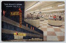 Atlantic City Nj~Planters Peanut Store~Red Neon Night Lights~Clerk~1951 Linen