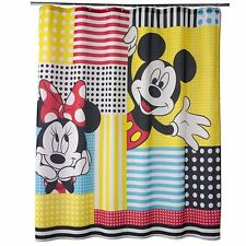 Disney Mickey Mouse and Friends Shower Curtain Aqua Red Yellow White Fabric