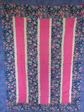 "HANDMADE QUILT Blanket 74x48"" PINK PURPLE FLORAL For Double Bed"