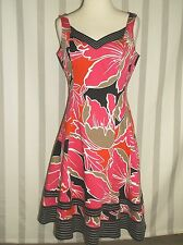 Nine West Dress 6 Bright Pink/Orange Floral W Black Stitched Detailing  A Line