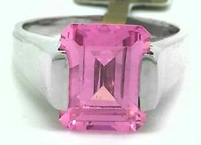 PINK SAPPHIRE 2.77 Cts Emerald Cut RING 14k WHITE GOLD **** New With Tag ****
