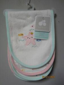 Gerber Just Born Baby Girl 3-Piece Pink Star Fish Burp Cloths