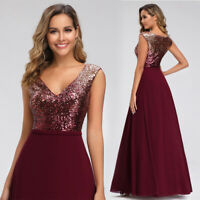 Ever-pretty Sequins Formal V-neck Evening Dresses Cocktail A-line Ball Prom Gown