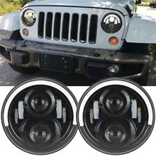 Pair 7'' INCH LED Headlight Hi-Lo Beam Half Halo Eyes For Jeep Wrangler JK LJ TJ