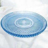 "Vintage Indiana Glass Windsor Blue Diamond Point Round Serving Tray Platter 12"""