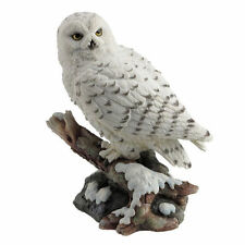 "6.75"" Snow Owl Perching On Branch Home Decor Figure Sculpture Statue Animal Bird"