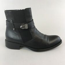Russell & Bromley Aquatalia Black Leather Chelsea Ankle Boots Zip Buckle 40 UK7