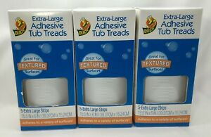 Duck Extra-Large Adhesive Tub Treads, 3 Pack, 5 Strips Per Pack, 15.5 in x 6 in
