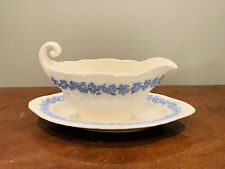 Wedgwood Cream Ware Lavender Grapes On Cream Gravy Boat with Attached Underplate