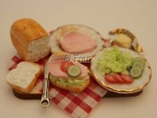 Dolls House Food: Making jambon salade sandwiches Prep Board-par Fran