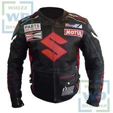 SUZUKI 4269 BLACK Cowhide Racing Coat Motorcycle Motorbike Biker Leather jacket