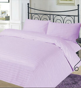 800TC Cotton 4 Pc Horizontal Stripe Duvet Cover with Fitted Sheet Size and Color