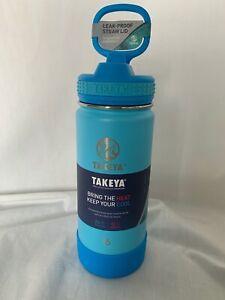 SALE! TAKEYA KIDS INSULATED WATER BOTTLE w/STRAW LID, 16 OZ, TURQUOISE