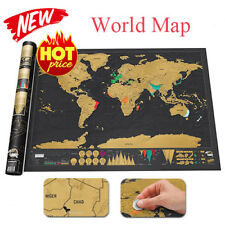 Deluxe Scratch Off World Journal Map Personalized Wall Travel Poster Atlas Decor