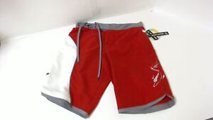 New Genuine SeaDoo Womens Lilypad Board Shorts Size 28 Red Grey White Quick-Dry