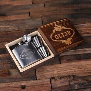 Personalised 5oz Steel Metal Whiskey Flask, 2 Steel Metal Glasses w/ Wooden Box