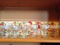 8 vintage white rose cordial sherry glasses and 3 wine glasses NICE
