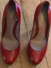 GUCCI SHOES RED PLATFORM PATENT LEATHER HIGH HEEL PUMPS size 39