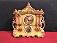 Rare Very Large Antique Pottery Highly Ornate Mantle Clock A.G. HARLEY JONES