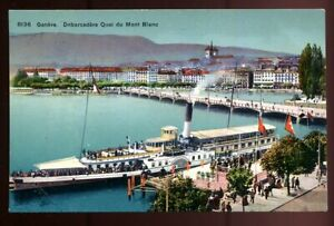 """Switzerland Geneve  Lake Steamer """"La Suisse"""" at Embarkment  Quai de Mont Blanc"""