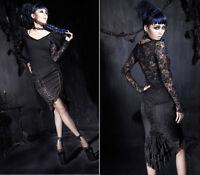 Jupe crayon gothique lolita burlesque pin-up baroque corset traîne lacé Punkrave