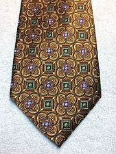 JOS A BANK MENS TIE 3.75 X 60 BROWN, COPPER, WITH GREEN AND LILAC NWOT