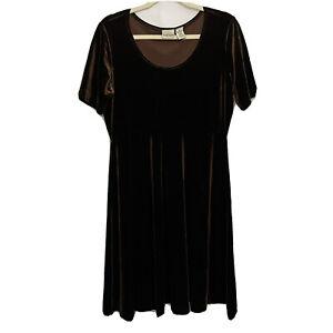 Hillard & Hanson Vintage Velvet Dress Brown Short Sleeve Knee Length Size Large