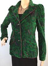 Womens Rena Lange Green Velvet 3 Button Blazer Jacket Coat Quality Pockets 4