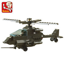 Small ruban assembles toy lego model of military aircraft tanks boy