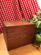 VINTAGE  WOOD OAK FILING INDEX CARD BOX RECIPE BOX OFFICE SUPPLIES