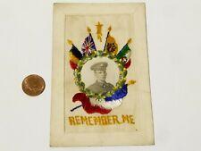 More details for ww1 remember me duke of wellingtons regiment embroidered silk postcard #sp10