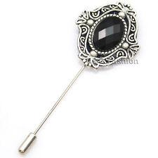 Men Antique Silver Black Gemstone Cut Out Lapel Stick Pin Tie Hat Scarf Brooch
