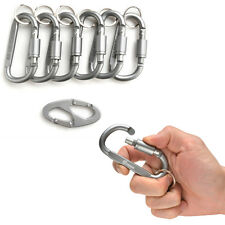 6pc D Shape Alloy Screw Lock Carabiner Clip Snap Hook Keychain Camping+Key Ring
