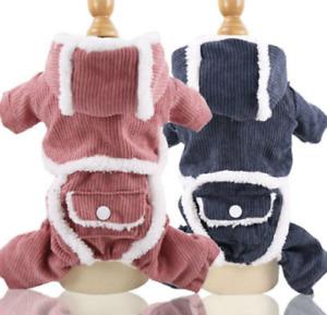 Warm Medium Pet Puppy Dog Clothes Hoodie Coat Thicken Suede Winter Apparel New D