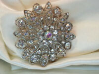 Sparkly Beautiful Liz Claiborne Signed Vintage 1980's Rhinestone Brooch  98N8