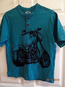 PLACE BOYS SIZE XL 14 COTTON SHORT SLEEVE T-SHIRT-TEAL-MOTORCYCLE-BIKE-NWOT
