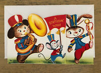 Vintage Anthropomorphic Animal Marching Band Birthday Card Unsigned
