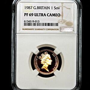 1987 Queen Elizabeth II Great Britain Gold Proof Sovereign NGC PF69 UCAM