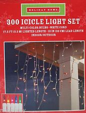 Holiday Home 300 Multi Color Icicle Lights White Wire Lighted Length 17 ft Nib