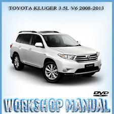 TOYOTA KLUGER 3.5L V6 2008-2013 WORKSHOP SERVICE REPAIR MANUAL IN DISC