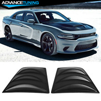 Fits 11-21 Dodge Charger V3 Style Window Scoop Side Louver Cover Matte Black PP