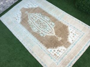 4'10''x8'1'' Vintage Turkish Large Rug,Neutral Oushak Rug,Area Rug,Ushak Rug