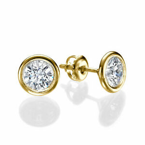 Round Cut 1.00 CT D/SI1 Beauty Diamond Stud Earrings 14K Yellow Gold